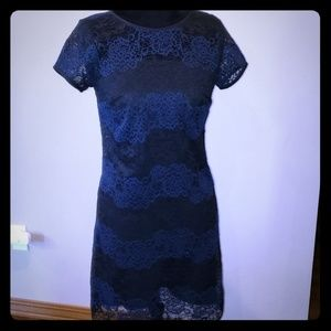 Loft lace black and navy dress new with tags